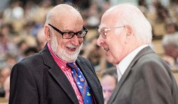 Englert (left) and  Higgs (right). Photo: Maximilien Brice; Laurent Egli. Copyright © CERN 2012
