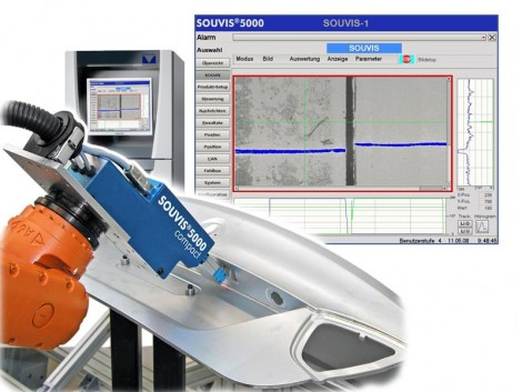 Mounted on a robot to follow a particular weld seam, a Souvis imaging head combines both a 3D and a 2D imaging system to capture images of the weld seam