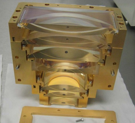 The cylinder lens imaging module (shown partially assembled) is used to image the homogenizer onto the work surface