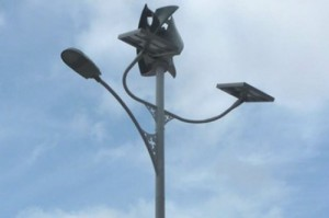 The UPC and Eolgreen have designed the first public lighting system that runs on solar and wind energy Credit UPC
