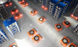 Mobile robots handling logistics in a warehouse could, in the future, communicate with each other via Li-Fi hotspots