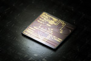 An example of a photonics chip, or photonic integrated circuit PIC Photo credit Florian Lemaitre