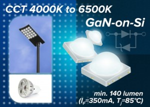 Toshibas new TL1L4 series 4A5B type of high power white LEDs achieves industry-leading luminous flux, and is appropriate for use in lighting applications including street lights, floodlights, highlow bay lights, base lights and down lights PRNewsFotoToshi