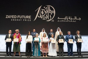 His Highness Sheikh Mohamed bin Zayed Al Nahyan, Crown Prince of Abu Dhabi and Deputy Supreme Commander of the UAE Armed Forces, presented awards to nine winners of the Zayed Future Energy Prize at the awards ceremony during Abu Dhabi Sustainability Week
