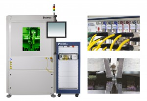 A PXI-based, fully-automated wafer-level test demo-system The automated prober machine and instrumentation rack are shown left, together with details of the optical PXI front-end modules right, top and multi-fiber optical IO probes positioned over the waf