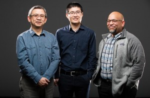 NREL scientists Kai Zhu left, Fei Zhang, and Joseph Berry figured out a way to sequester lead if a perovskite solar cell is damaged Photo by Dennis Schroeder, NREL