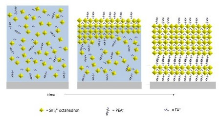 Scheme of the mechanism of crystallization from DMF/DMSO solution during drying for the 2D/3D perovskite films. | Illustration G. Portale, UG