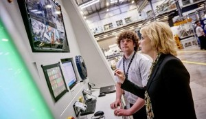 British Business Minister Anna Soubry MP pictured here with the cutting edge robotic laser system