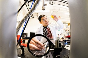 View from the inside of the magneto-optic instrument which helps Yuttapoom Puttisong and his team to develop a protocol in searching for energy loss in singlet fission Thor Balkhed