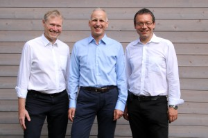 From left to right Dr Klaus-Henning Noffz CEO, Silicon Software, Dr Dietmar Ley CEO, Basler AG, Dr Ralf Lay CEO, Silicon Software