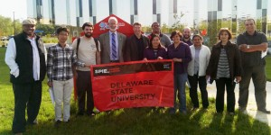 SPIE President Robert Lieberman fourth from left met with members of the SPIE Delaware State University Student Chapter in Dover before speaking at the US Department of Energy National Lab Day at the University of Delaware in Newark DESU photo