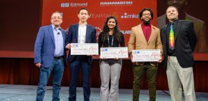 Early Career Entrepreneur Travel Grant recipients for the 2020 SPIE Startup Challenge, presented by Jason Eichenholz, Luminar Technologies L to R Eichenholz, Rich Zapata Rosas, Lucero Bio Joshna Seelam, Kilo Medical Solutions Brandon Zimmerman, Digiteyez