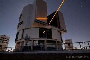 TOPTICAs Laser Guide Star system - dubbed SodiumStar 202 - projects a powerful orange beam into the cool air in Chiles Atacama desert