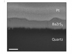Scanning electron microscopy image of a BaZrS3 film deposited on quartz
