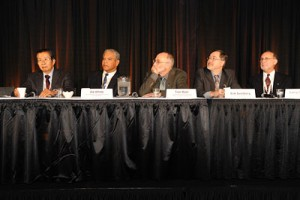 Panelists at OSAs Town Hall event discussing the US National Academy of Sciences Report Optics and Photonics Essential Technologies for Our Nation The event was held at Frontiers in Optics 2012 in Rochester, NY