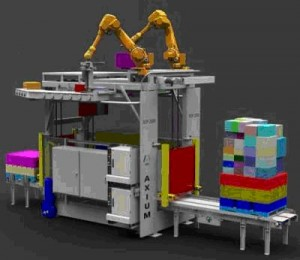In logistics applications, ToF cameras could be employed in a vision-based robotic palletizing system Image courtesy of Axium