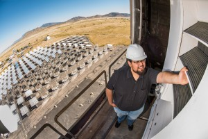 Year-round Sandia National Laboratories intern Jesus Ortega inspects one of the new bladed receivers at Sandias National Solar Thermal Testing Facility Photo by Randy Montoya