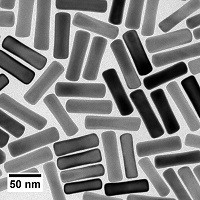 This image shows the type of gold nanorods the team used in their research Gold is biocompatible and scatters light well, making it a good candidate to help study the viscous properties of mucus CreditWei-Chen Wu and Joseph TracyNCSU
