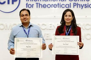Rajan Jha, at left, and Rim Cherif are recipients of the ICO 2015 Gallieno Denardo Prize The announcement was made at the ICTP Winter College last month