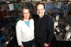 Kristan Corwin, left, and Brian Washburn, both associate professors of physics at Kansas State University, have invented a new patented class of lasers