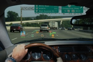 A head-up display HUD provides driving information Photo Courtesy of MicroVision Incorporated