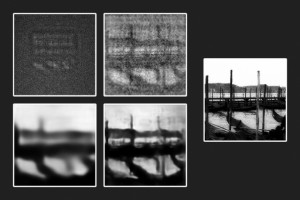 From an original transparent etching far right, engineers produced a photograph in the dark top left, then attempted to reconstruct the object using first a physics-based algorithm top right, then a trained neural network bottom left, before combining bot
