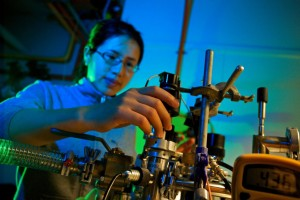 ANUs Manjin Zhong in the Solid State Spectroscopy lab at RSPE