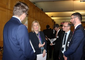 Mims Davies speaks to members of the laser industry