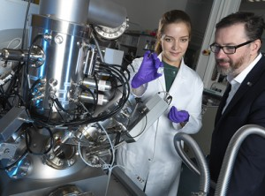 NPLs Prof Ian Gilmore and Yulia Panina, PhD student at the Francis Crick Institute, with the 3D OrbiSIMS