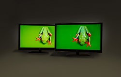 The 47-inch HDTV on the right has been modified with Nanosys QDEF technology It shows a much wider range of colours