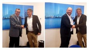 Benno Oderkerk, President of EPIC welcoming Christian Bosshard left and Samuel Bucourt right to the EPIC Board at EPIC Board Meeting in Torino in February 2019
