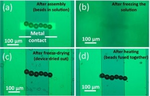 After using optoelectronic tweezers to assemble a line of solder beads a, the researchers froze the liquid b and then reduced the pressure so that the frozen liquid turned directly from a solid into a gas, drying out the device c They then heated the bead