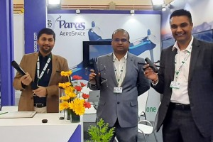 Tiny eye in the sky that sees all Paras Aerospace has indigenously developed a highly capable UAV unmanned aerial vehicle A prototype was unveiled at Aero India 2021 by Anish Mehta, Director, Paras Defence and Space technologies Limited Pankaj Akula, CEO,