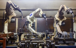 Robots welding automotive parts