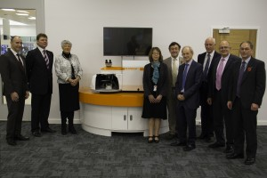 Her Majestys Lord-Lieutenant of Gloucestershire, Dame Janet Trotter, with Renishaw Chairman and Chief Executive, Sir David McMurtry, and the Director and General Manager of the Spectroscopy Products Division, Simon Holden