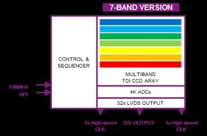 Schematic representation of a multispectral TDI image sensor with 7 bands