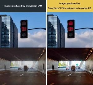 Comparison of images produced with and without SmartSens LED Flicker Suppression technology