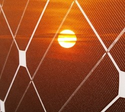 Solar panel and sun for Liquid Light technology
