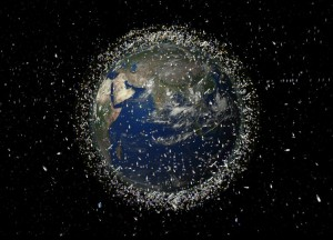 Artists impression of space debris in orbit around the Earth Credit ESA