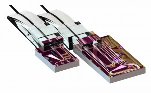 The inside of Mellanoxs silicon photonics transceiver--right, and receiver-- left, chips