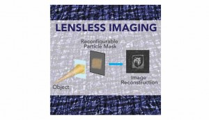 Schematic of the layout for a lensless camera IMAGE KEATINGLIU LABS, PENN STATE