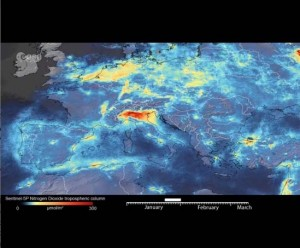 satellite imagery over Italy