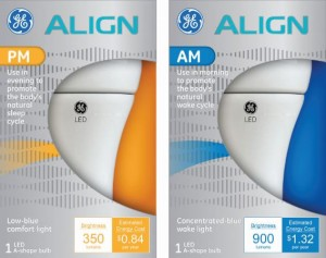 GE Align AM bulbs mimic daylight and suppress the bodys production of melatoninGE Align PM bulbs, meant to be used in the evening,