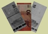 New 10 euro bill at various wave length ranges