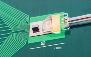 Photograph of the TSV-assisted FinFET CMOSSi photonics transceiver prototype