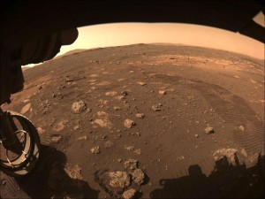 This image was captured while NASAs Perseverance rover drove on Mars for the first time on March 4, 2021 Photo courtesy of NASA