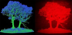 Image based on lidar data left, converted to a hologram right