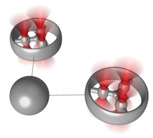 Schematic diagram of two optically trapped rotors that can be used to hydrodynamically trap a freefloating particle grey sphere