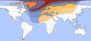 Viewing area of solar eclipse 20 March 2015