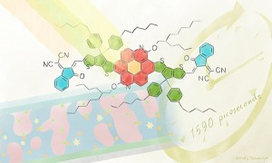 The new electron-accepting molecule TACIC can maintain its excited state 50 times longer than a conventional one Illustration by Izumi Mindy Takamiya CC BY 40